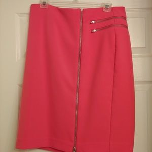 Lined pencil skirt w/open front zippers.